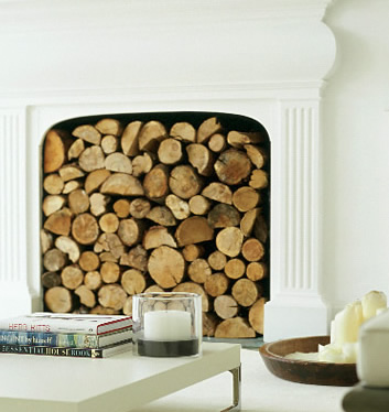 Round Logs: Stacked in a fireplace